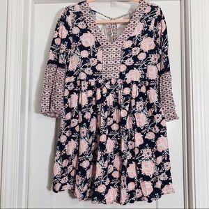 Blush pink, floral dress